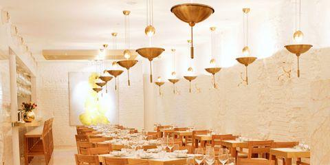 Interior design, Room, Furniture, Table, Ceiling, Interior design, Light fixture, Chair, Lighting accessory, Beige,