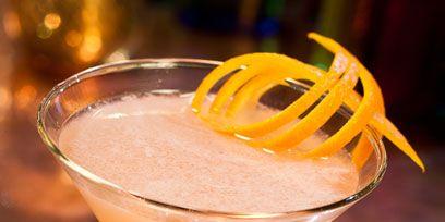 Drink, Liquid, Tableware, Glass, Peach, Cocktail, Orange, Classic cocktail, Drinkware, Martini glass,
