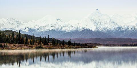 Mountainous landforms, Reflection, Water resources, Mountain range, Natural landscape, Winter, Highland, Landscape, Mountain, Bank,