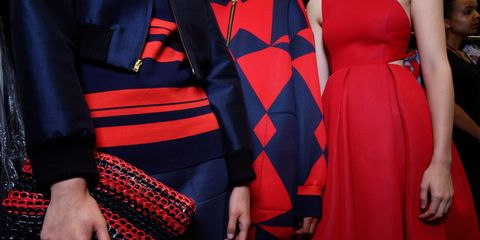 Sleeve, Textile, Red, Collar, Formal wear, Dress, Fashion, Pattern, One-piece garment, Blazer,
