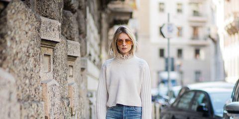 Jeans, Clothing, Street fashion, Denim, Yellow, Fashion, Waist, Textile, Shoulder, Electric blue,