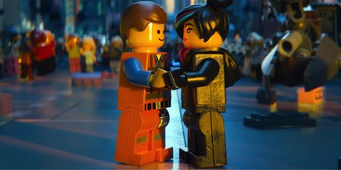 Toy, Interaction, Fiction, Animation, Animated cartoon, Plastic, Fictional character, Lego, Figurine, Action figure,