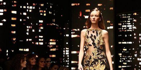 Dress, Style, Fashion model, Fashion, Beauty, Public event, Day dress, Fashion show, Model, Waist,