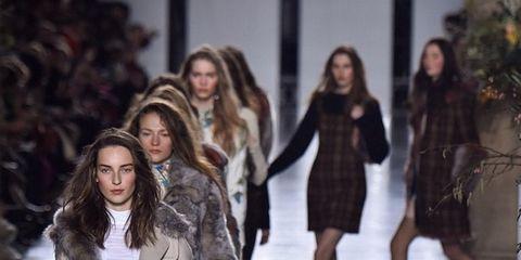 Clothing, Head, Human, Leg, Winter, Human body, Shoulder, Fashion show, Textile, Outerwear,