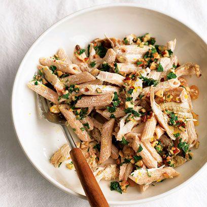 Martha Stewart's pasta salad with chicken, raisins and almonds recipe