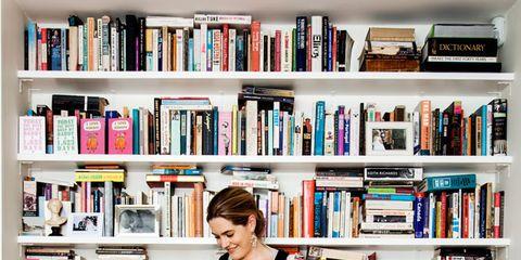 Hair, Shelf, Human body, Bookcase, Shelving, Flooring, Floor, Publication, Wood flooring, Library,
