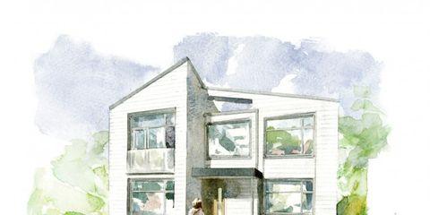 Green, House, Paint, Art, Watercolor paint, Home, Door, Artwork, Art paint, Painting,