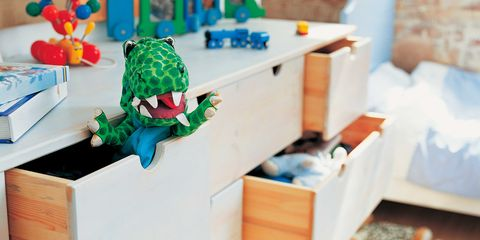 Room, Toy, Drawer, Cabinetry, Turquoise, Teal, Fictional character, Chest of drawers, Stuffed toy, Dresser,