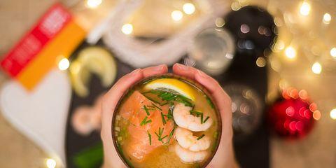 Recipe, Cocktail, Peach, Dish, Soup, Garnish, Distilled beverage, Fast food, Flesh,