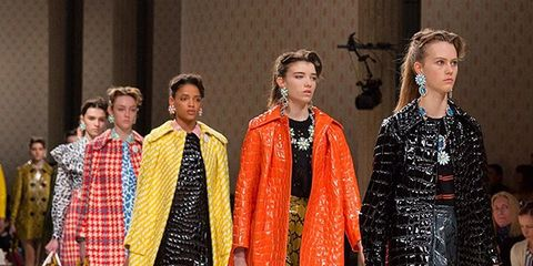 Clothing, Footwear, Event, Outerwear, Dress, Fashion show, Style, Runway, Pattern, Fashion,