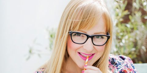 Clothing, Eyewear, Glasses, Arm, Vision care, Finger, Human body, Hand, Happy, Pink,