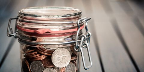 Saving, Mason jar, Food storage containers, Money, Coin, Currency, Lid, Metal, Money handling, Cash,