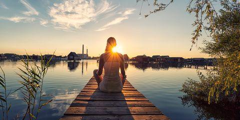 Water, Waterway, Sunset, Reflection, People in nature, Evening, Horizon, Dock, Dusk, Sunrise,