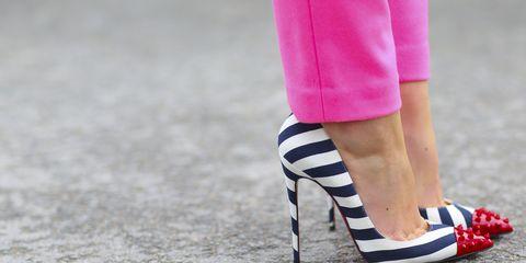 Footwear, Human leg, Joint, Pink, Street fashion, Magenta, Carmine, Fashion, Electric blue, Foot,