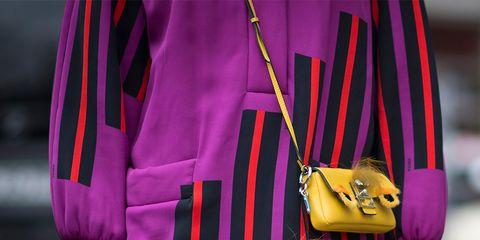 Textile, Purple, Bag, Magenta, Style, Violet, Shoulder bag, Fashion, Waist, Street fashion,