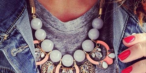 Product, Denim, Nail, Petal, Fashion accessory, Natural material, Fashion, Body jewelry, Necklace, Pocket,