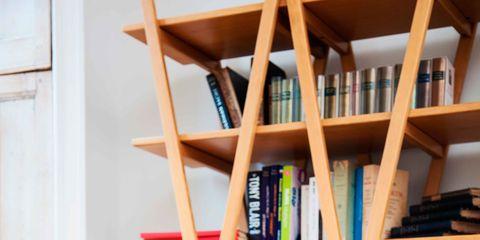 Shelf, Shelving, Comfort, Furniture, Sitting, Bookcase, Beauty, Long hair, Sunlounger, Blond,
