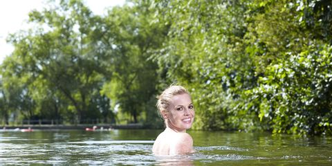 People in nature, Summer, Muscle, Lake, Reflection, Bathing, Blond, River, Brown hair, Swimming,