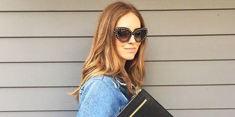 Eyewear, Vision care, Glasses, Product, Sleeve, Denim, Textile, Sunglasses, Style, Bag,