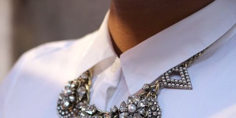 Collar, White, Fashion accessory, Dress shirt, Jewellery, Natural material, Fashion, Body jewelry, Bridal accessory, Metal,