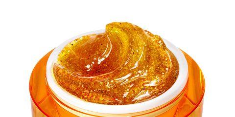 Orange, Amber, Ingredient, Food storage containers, Peach, Lid, Paste, Condiment, Label,