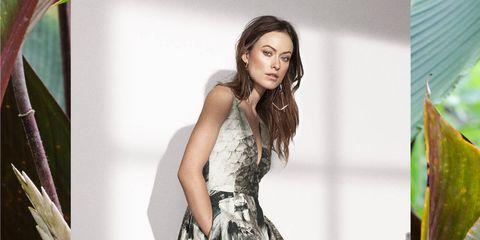 Clothing, Dress, Sleeve, Green, Shoulder, Textile, Leaf, Formal wear, One-piece garment, Style,