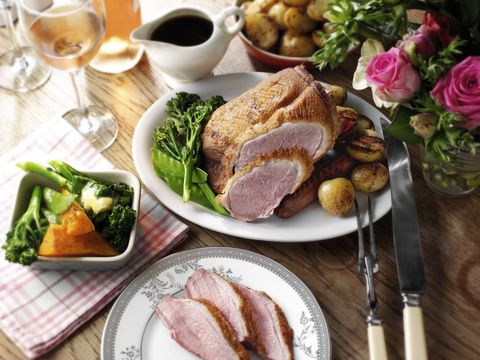 Roast duck with rosemary potatoes, red wine and balsamic sauce