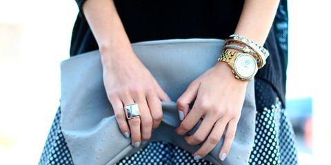 Finger, Pattern, Wrist, Hand, Fashion accessory, Style, Watch, Fashion, Bag, Polka dot,