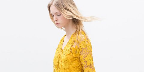 Yellow, Sleeve, Shoulder, Textile, Joint, Pattern, One-piece garment, Dress, Fashion, Day dress,
