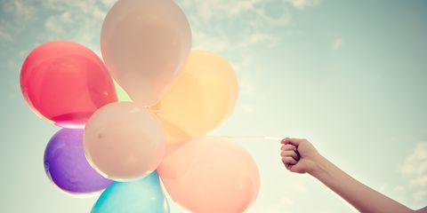 Balloon, Cloud, Party supply, Colorfulness, People in nature, Peach, Nail, Meteorological phenomenon, Circle, People on beach,