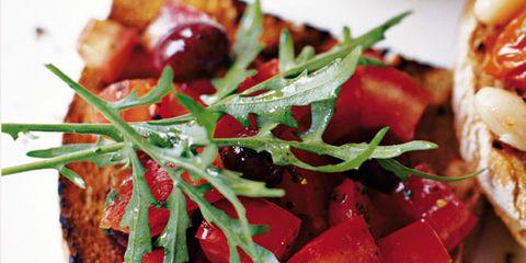 Food, Finger food, Dish, Ingredient, Cuisine, Recipe, Produce, Baked goods, Garnish, Bruschetta,