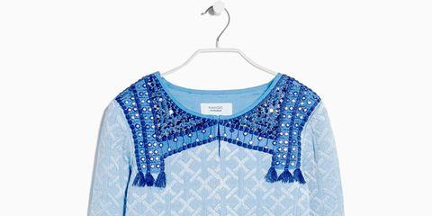 Blue, Product, Collar, Sleeve, Textile, White, Electric blue, Neck, Azure, Clothes hanger,