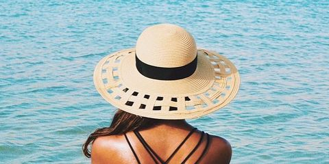 Hat, Shoulder, Summer, Headgear, Sun hat, Back, Tan, Ocean, Aqua, Beach,
