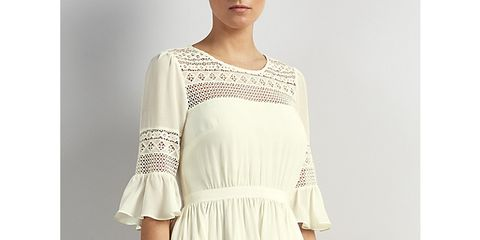 Clothing, Sleeve, Shoulder, Textile, Joint, Dress, Standing, Pattern, One-piece garment, Day dress,