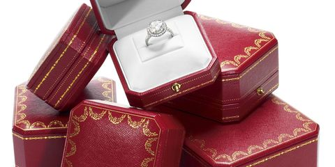 Red, Jewellery, Maroon, Box, Ring, Rectangle, Engagement ring, Baggage, Diamond, Silver,