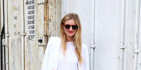 Clothing, Eyewear, Sleeve, Outerwear, White, Sunglasses, Style, Street fashion, Fashion model, Bag,