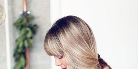 Blond, Cutting board, Vegetable, Long hair, Brown hair, Day dress, Whole food, Peach, Plate, Fashion design,