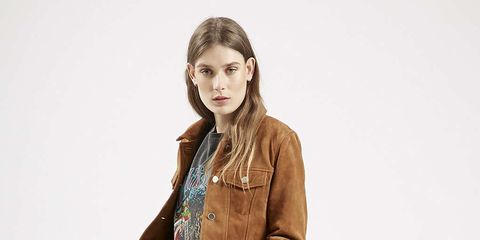 Clothing, Brown, Denim, Sleeve, Trousers, Shoulder, Collar, Jeans, Textile, Standing,
