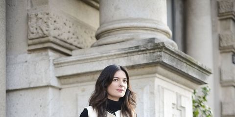 Clothing, Sleeve, Collar, Shoulder, Outerwear, White, Style, Coat, Street fashion, High heels,