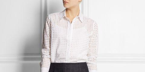 Clothing, Collar, Sleeve, Shoulder, Textile, Dress shirt, Human leg, Joint, White, Pattern,