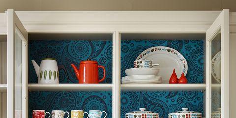 Blue, Serveware, Dishware, Shelf, Shelving, Room, Porcelain, White, Cupboard, Furniture,