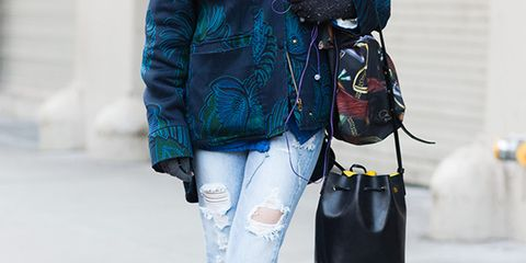 Clothing, Trousers, Denim, Bag, Textile, Outerwear, Style, Street fashion, Jacket, Luggage and bags,