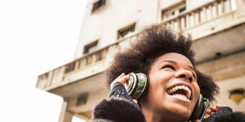 Facial expression, People, Audio equipment, Headphones, Organ, Smile, Ear, Fur, Human, Technology,