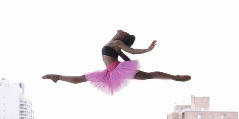 Pink, Magenta, Dancer, Tower block, Active pants, Dance, Ballet tutu, Condominium, Athletic dance move, Balance,