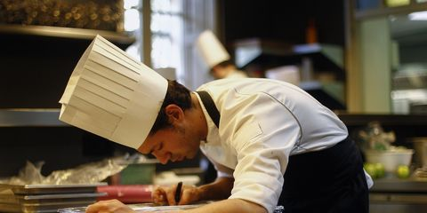 Table, Cook, Job, Chef, White-collar worker, Paper, Employment, Cooking, Countertop, Book,