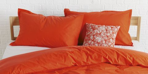Blue, Brown, Yellow, Orange, Room, Bedding, Textile, Red, Photograph, Wall,