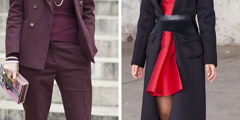 Clothing, Footwear, Collar, Sleeve, Red, Textile, Outerwear, Coat, Pattern, Style,