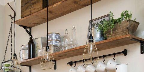 Countertop, Kitchen, Shelf, Room, Furniture, Interior design, Tile, Property, Cabinetry, Shelving,