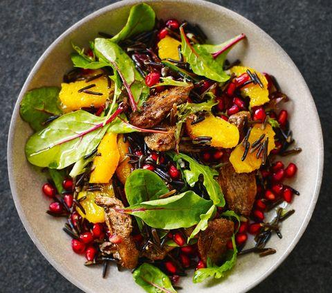 Food, Pomegranate, Dish, Cuisine, Ingredient, Salad, Vegetable, Leaf vegetable, Garden salad, Spring greens,