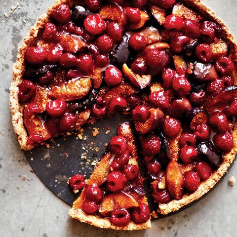 roast fig and raspberry tart
